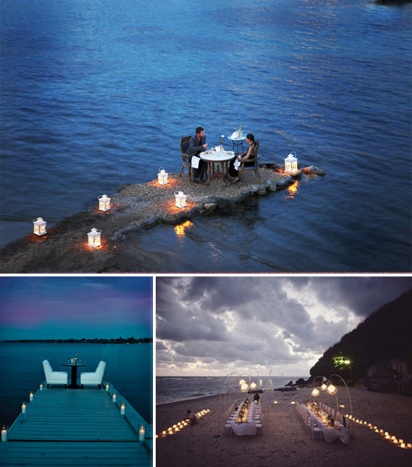 candlelight beach weddings