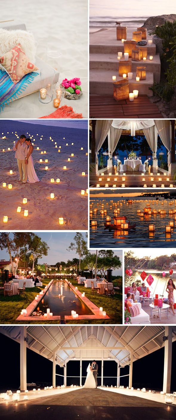 beach weddings candles