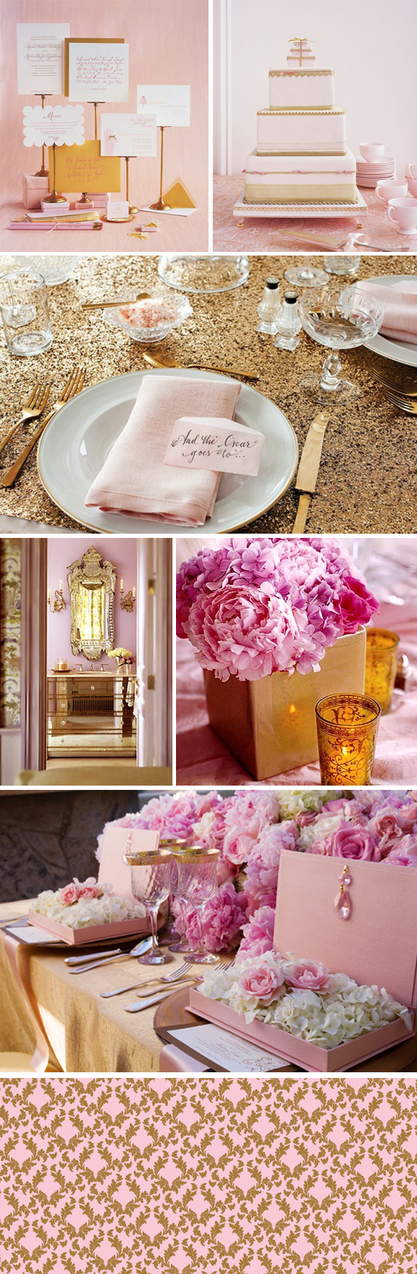 pink and gold weddings Inspired by the Langham Hotel Wallpaper Pattern
