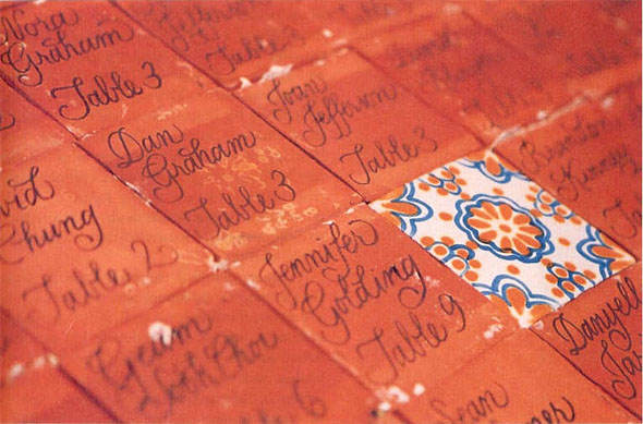 tile place cards Wedding Place Cards Inspired by Spanish Tile