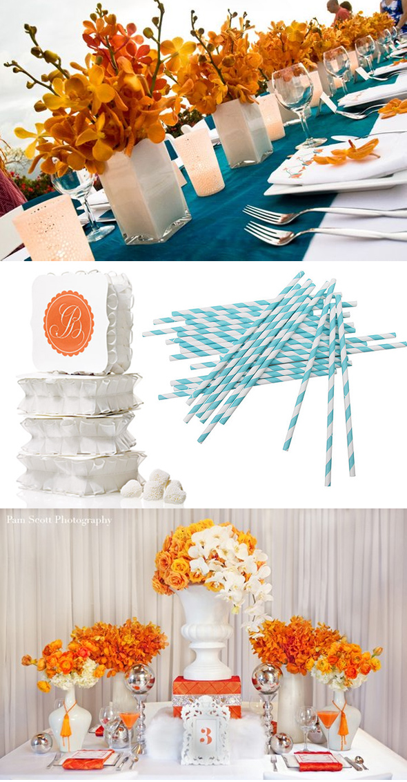 orange and teal wedding