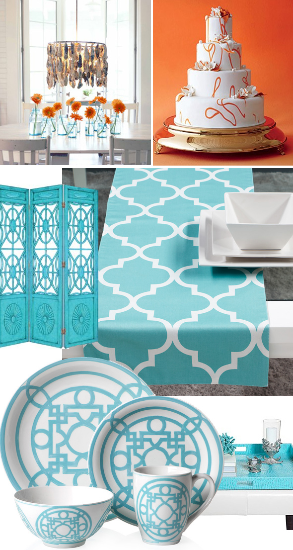 turquoise pattern wedding Turquoise White and Orange Weddings