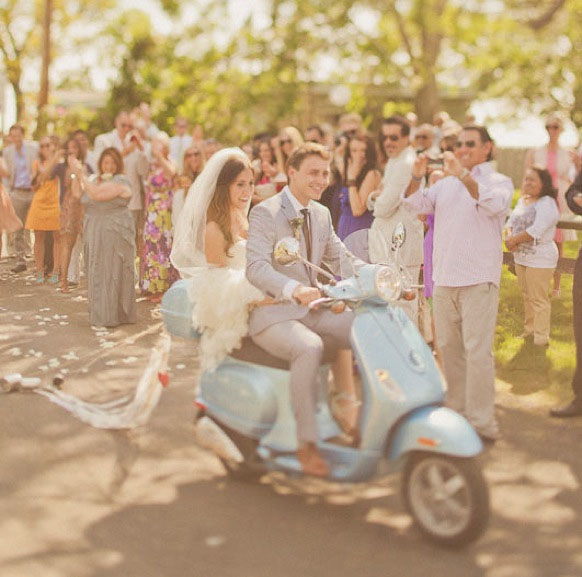 moped wedding getaway