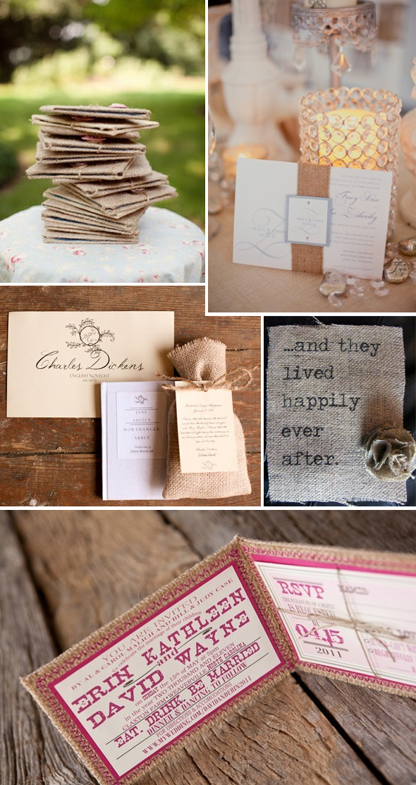 burlap wedding invitations Burlap Reception Details