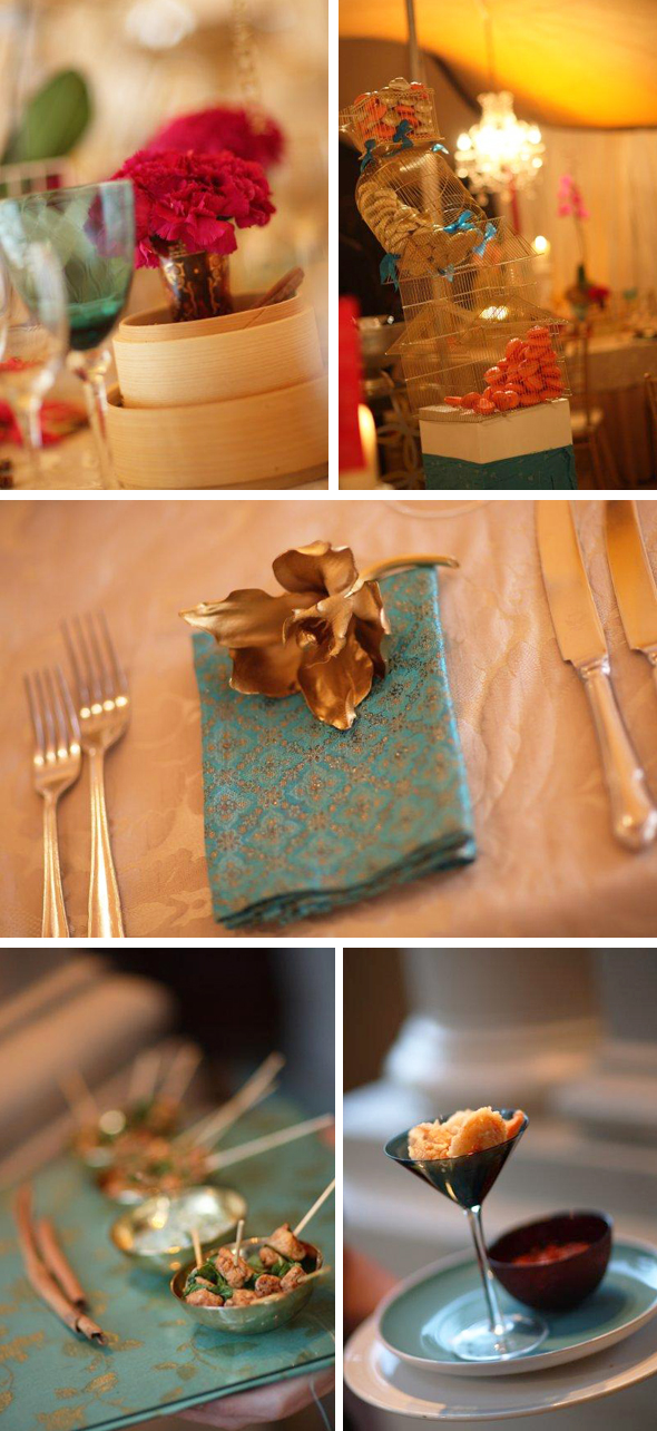 pink teal and gold destination weddings