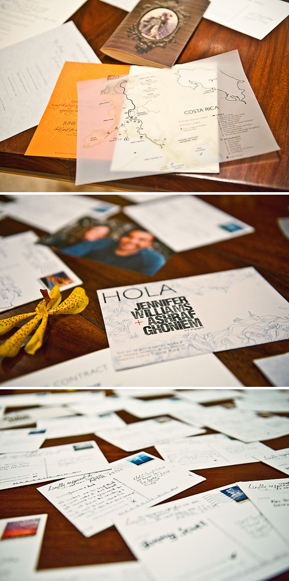 post card wedding details