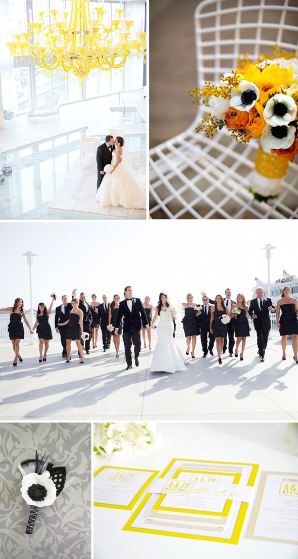 black white and yellow weddings