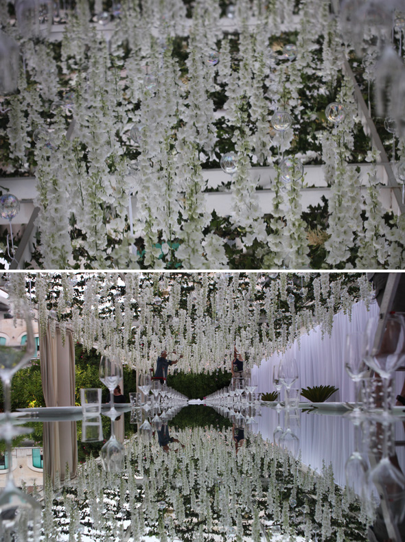 hanging white flowers wedding
