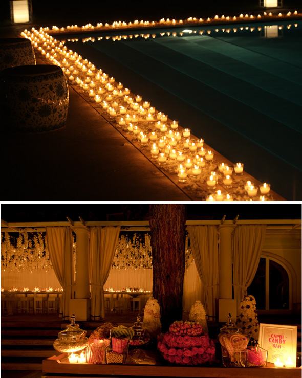 pool candles wedding Celebrity Destination Wedding in Capri, Italy