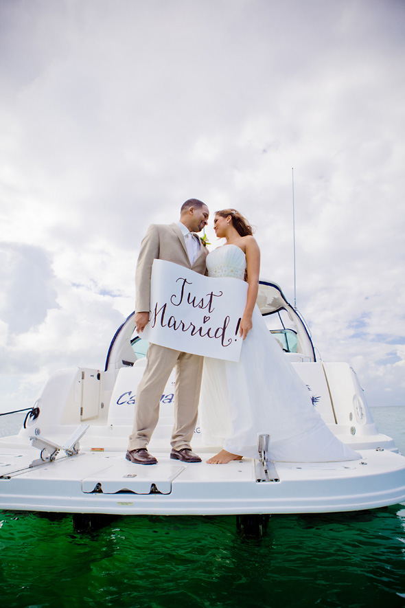 just married signs Grand Cayman Wedding Shoot