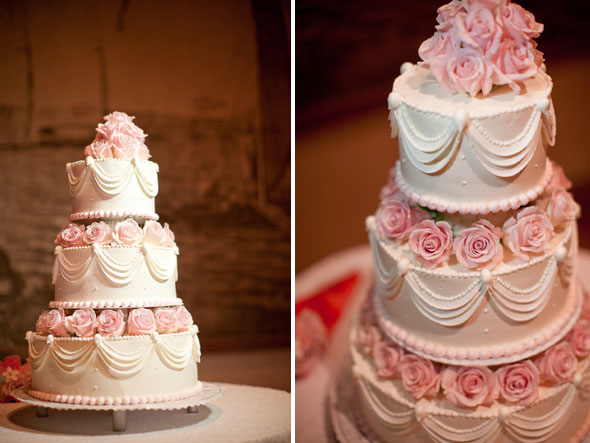 pink and white wedding cake Destination Wedding in Waikiki, Hawaii