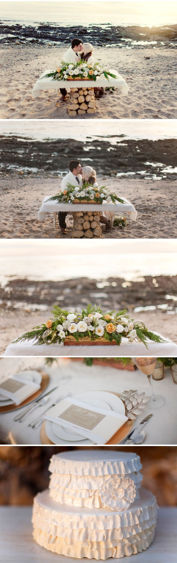 beach winter weddings Christmas on the Beach Engagement Shoot