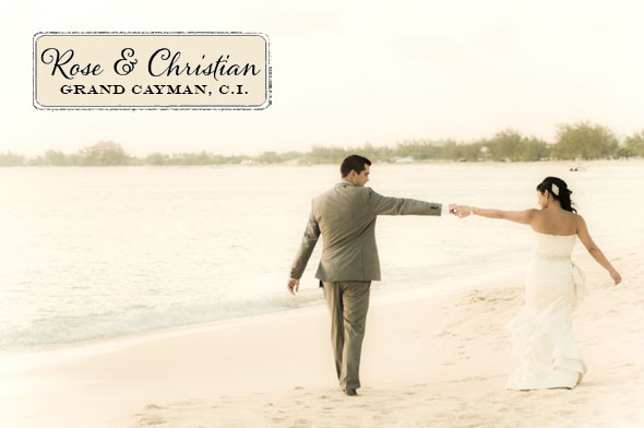 Rose and Christian wed on the white sand of Seven Mile Beach in Grand Cayman