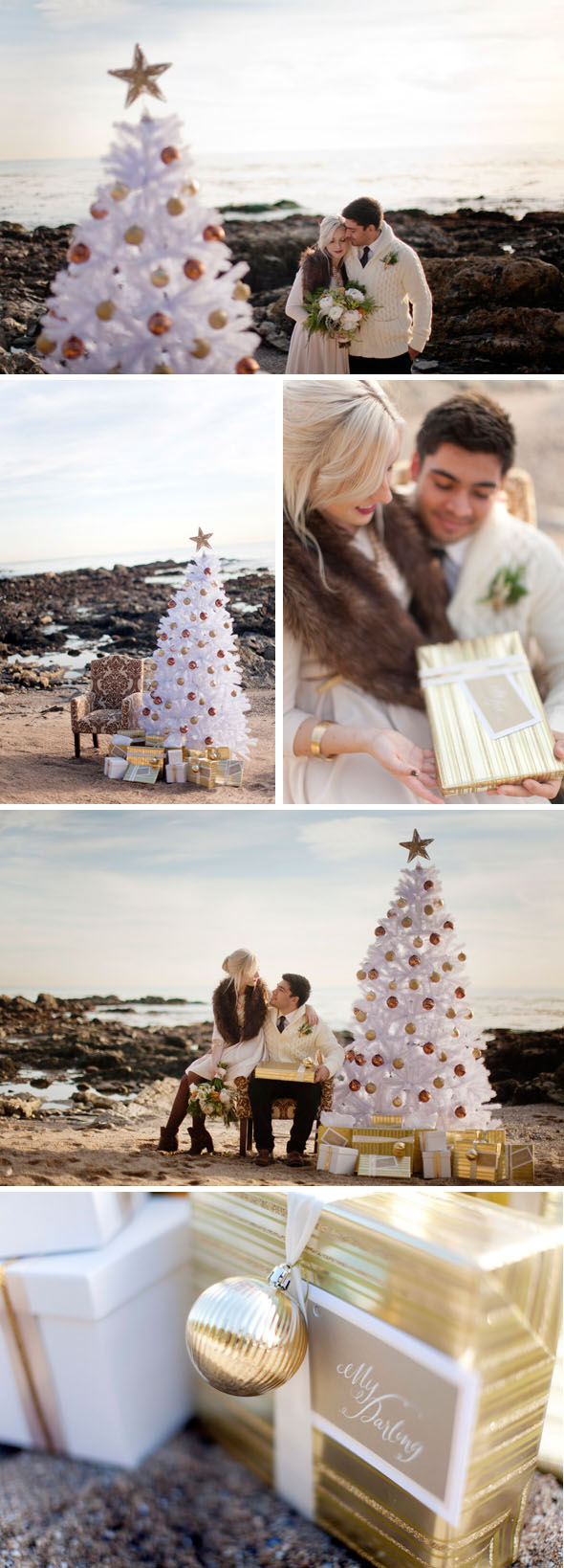 christmas wedding photos Christmas on the Beach Engagement Shoot
