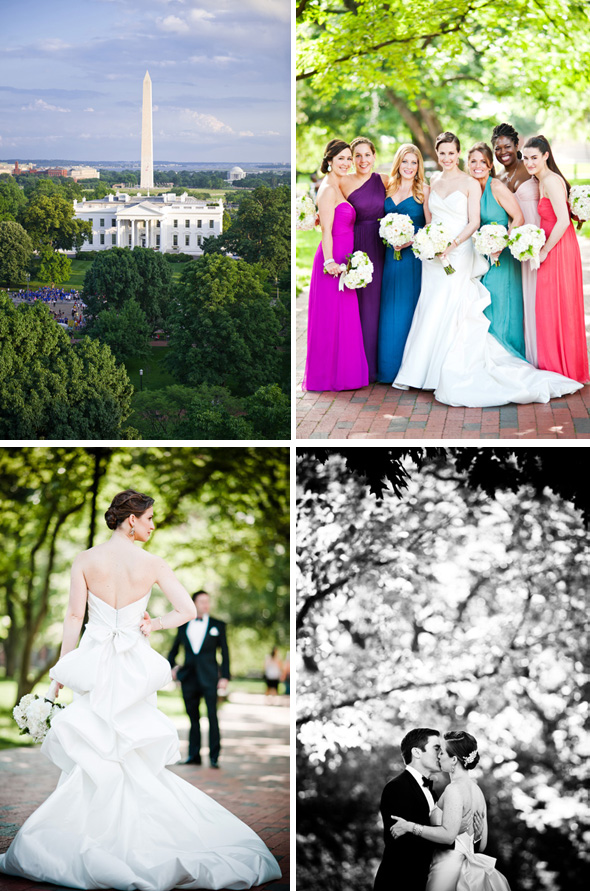 colorful bridesmaid dresses Hay Adams, Washington DC Wedding