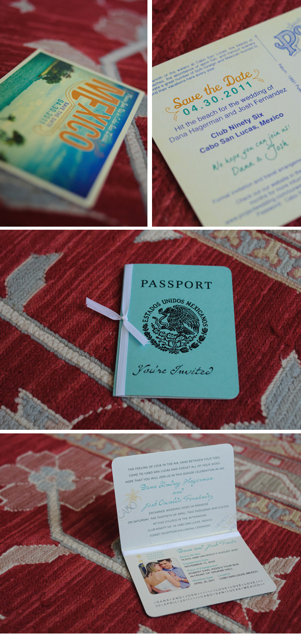 Mexico passport wedding invitation Cabo San Lucas Destination Wedding