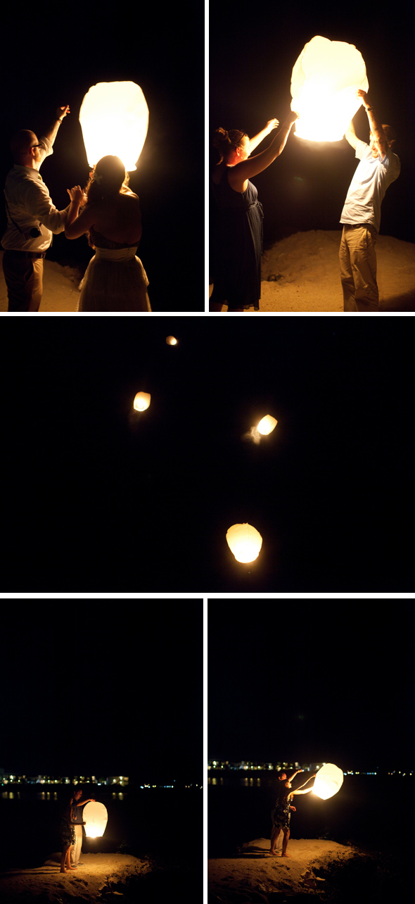 releasing wedding lanterns
