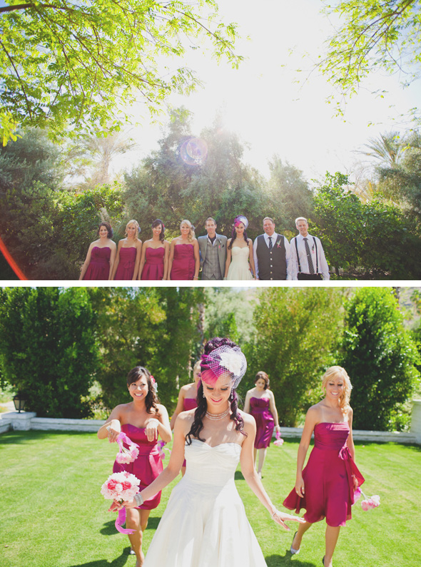 fuschia bridesmaid dresses The Parker Palm Springs Destination Wedding