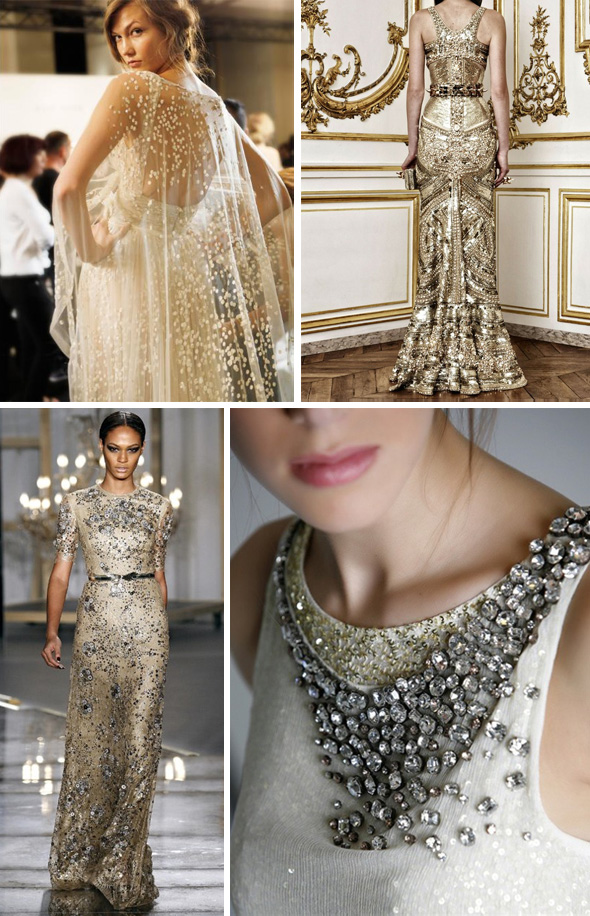 gold beaded wedding dresses Black & Gold Weddings