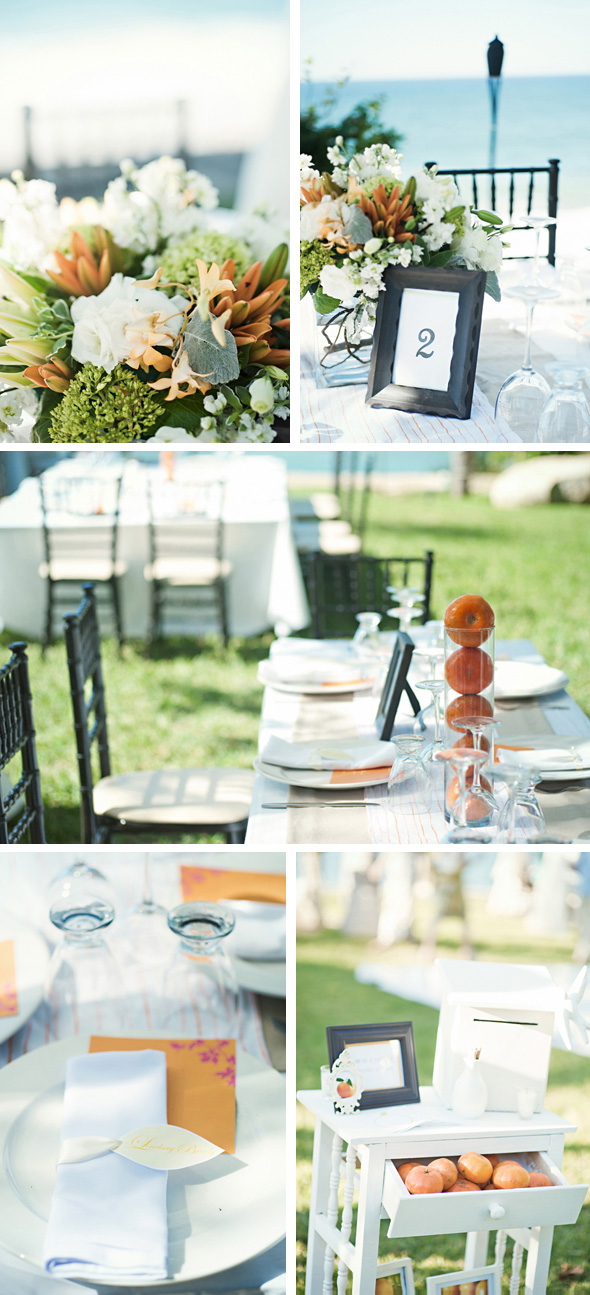 orange wedding centerpieces Destination Wedding in Sayulita Mexico