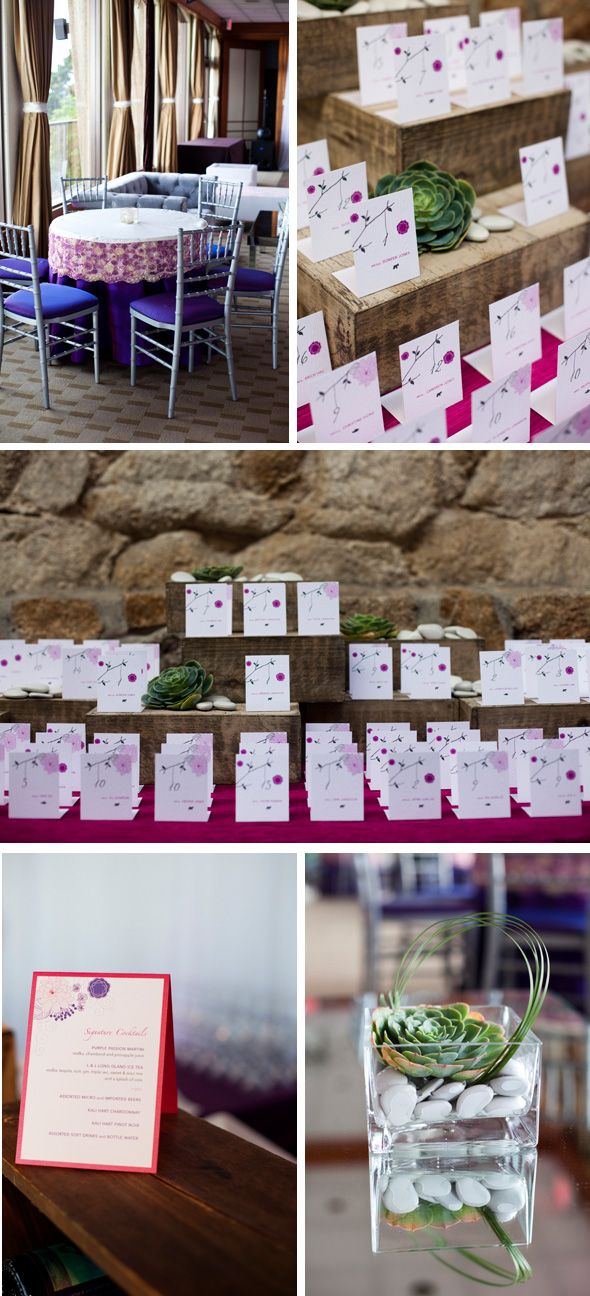 purple place cards Destination Wedding in Carmel, CA