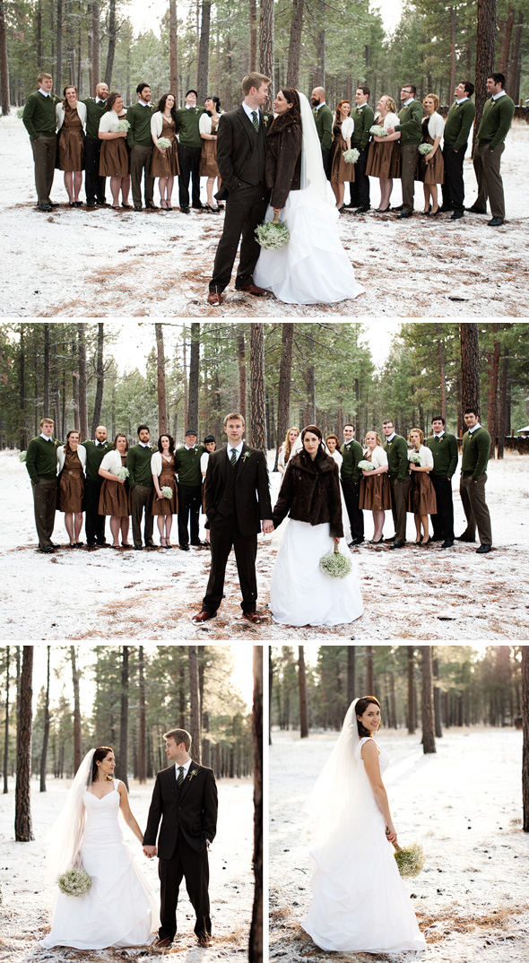 brown bridesmaid dresses Winter Wedding in Oregon