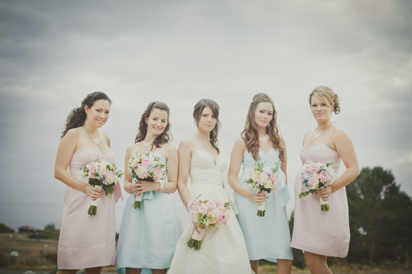 ceremony and reception backdrop pastel bridesmaids Castle Wedding in
