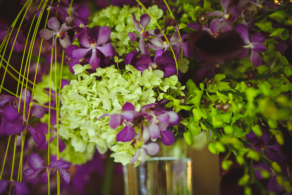 bright purple and green wedding