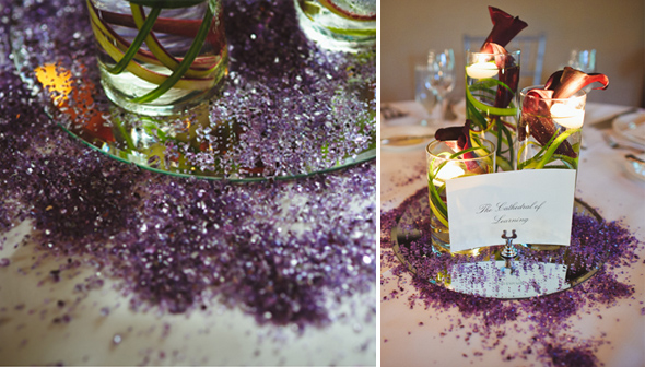 purple glitter wedding details