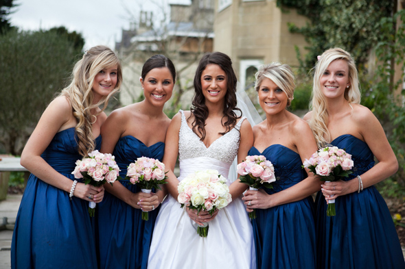 6 navy blue bridesmaids Celebrity Destination Wedding in Bath, England