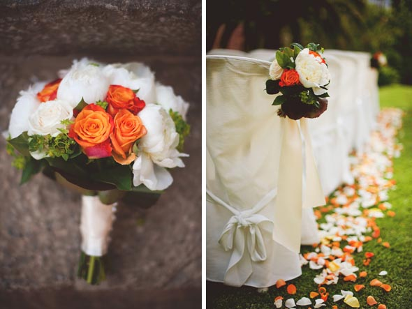 6b orange wedding bouquets1 Destination Wedding in Majorca, Spain
