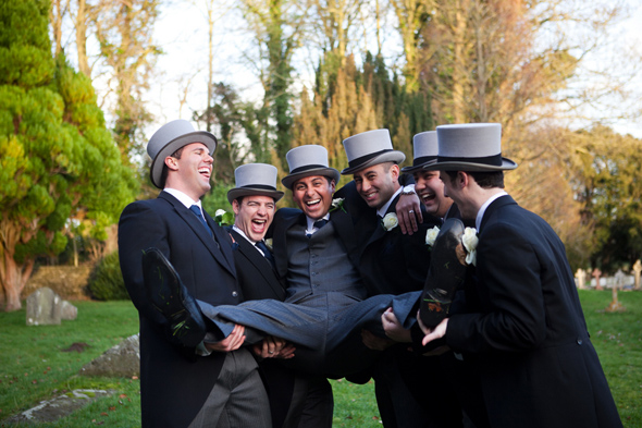 7 grooms top hats Celebrity Destination Wedding in Bath, England