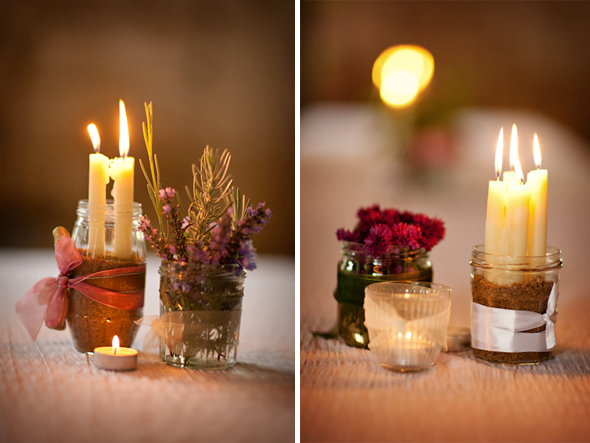 candle centerpieces Destination Wedding in Poitou Charente, France