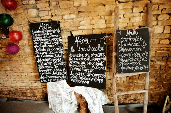 chalkboard menu Destination Wedding in Poitou Charente, France