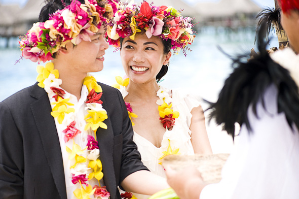 pink orange and yellow weddings Elopement in Moorea