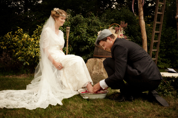washing the brides feet Rustic Destination Wedding in France Re Run