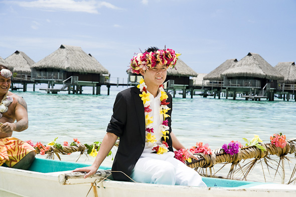 wedding lei ideas Elopement in Moorea