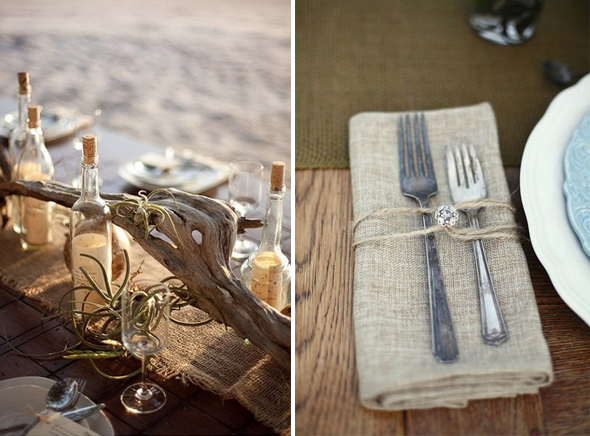 burlap wedding tables