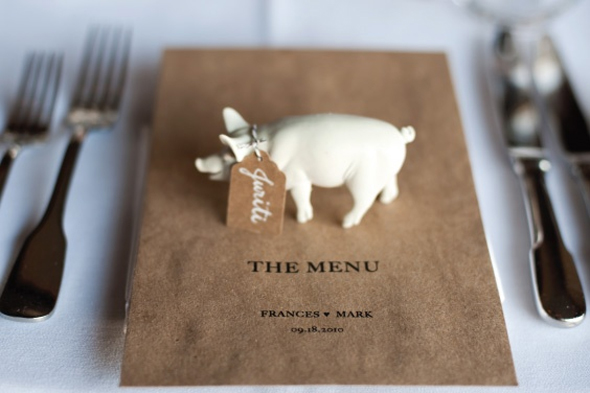 pig place cards European Destination Wedding Place Cards