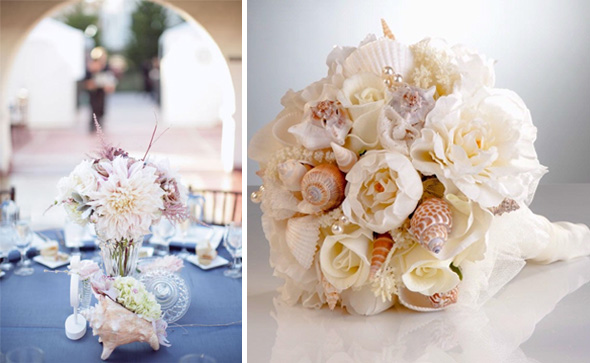 shell bouquets Shell Wedding Details