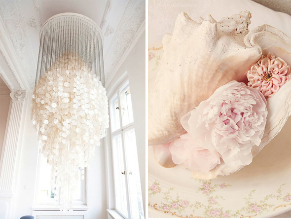 shell chandelier Shell Wedding Details