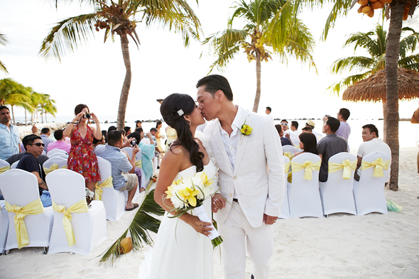 yellow and white beach wedding Destination Wedding in Aruba