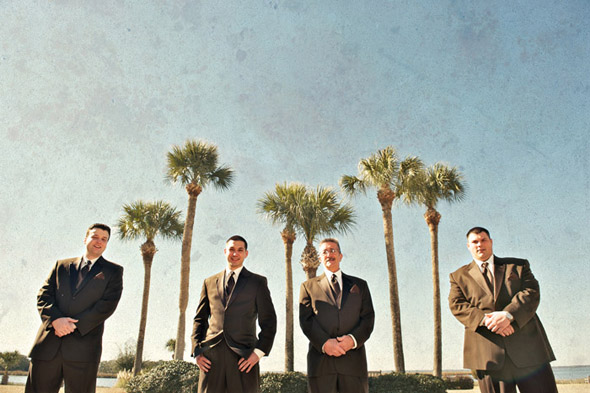 brown groomsmen suits St. Simons Island, Georgia Destination Wedding