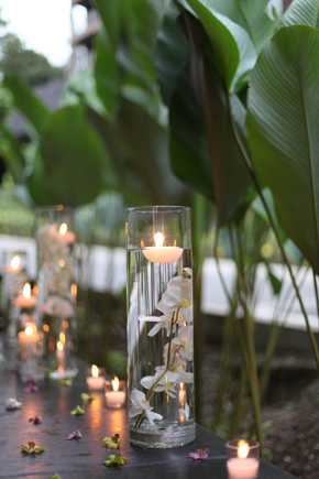 floating orchid wedding candles Costa Rica Destination Wedding