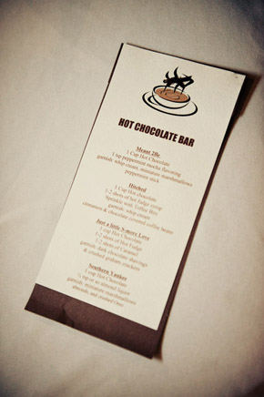 hot chocolate bar menu