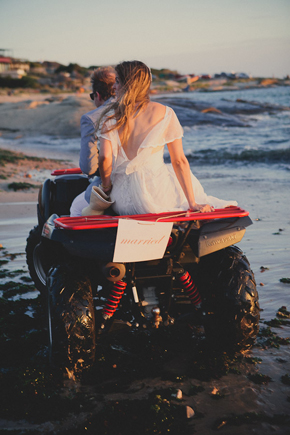 ATV wedding getaway