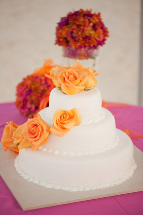 orange and pink wedding cake Destination Wedding Punta Cana, Dominican Republic