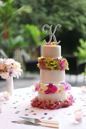 orchid wedding cake Costa Rica Destination Wedding