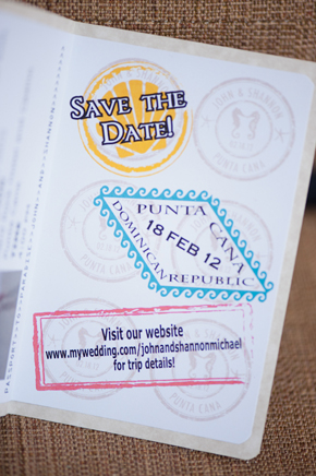 passport save the date Destination Wedding Punta Cana, Dominican Republic