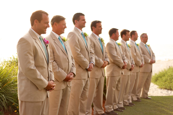tan groomsmen suits Destination Wedding in Naples, Florida